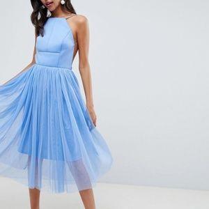 NWT! ASOS DESIGN Premium Scuba Midi Tulle Dress